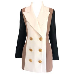 Vintage Jacques Fath Couture Ivory Taupe Black Color Block Double Breast Blazer