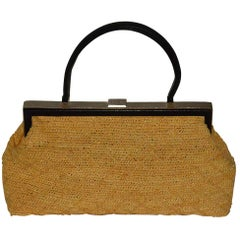 Classic Chanel Natural Straw and Black Lambskin Top Handle Bag