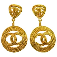 Chanel Textured Gold Double Charm Drop Hoop Evening Earrings