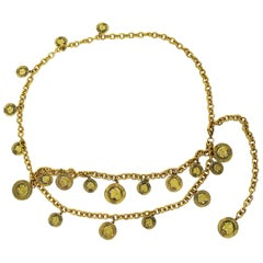 Sonia Rykiel Vintage Gold Toned Chain Belt Necklace with Profile Charms