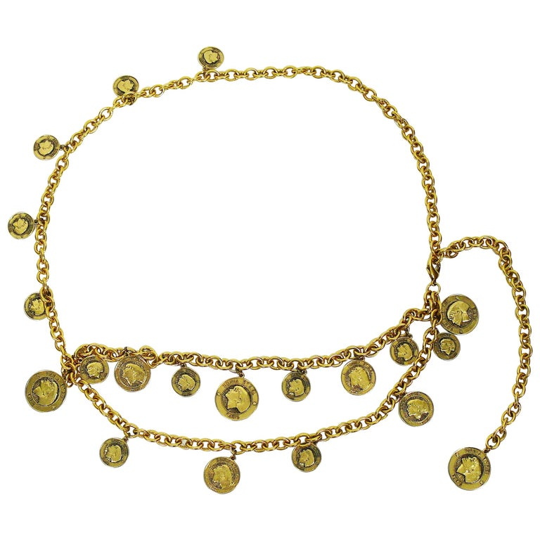 Sonia Rykiel Vintage Gold Toned Chain Belt Necklace with Profile Charms For Sale