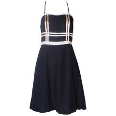A Vintage navy nautical style cotton day dress by Valentino