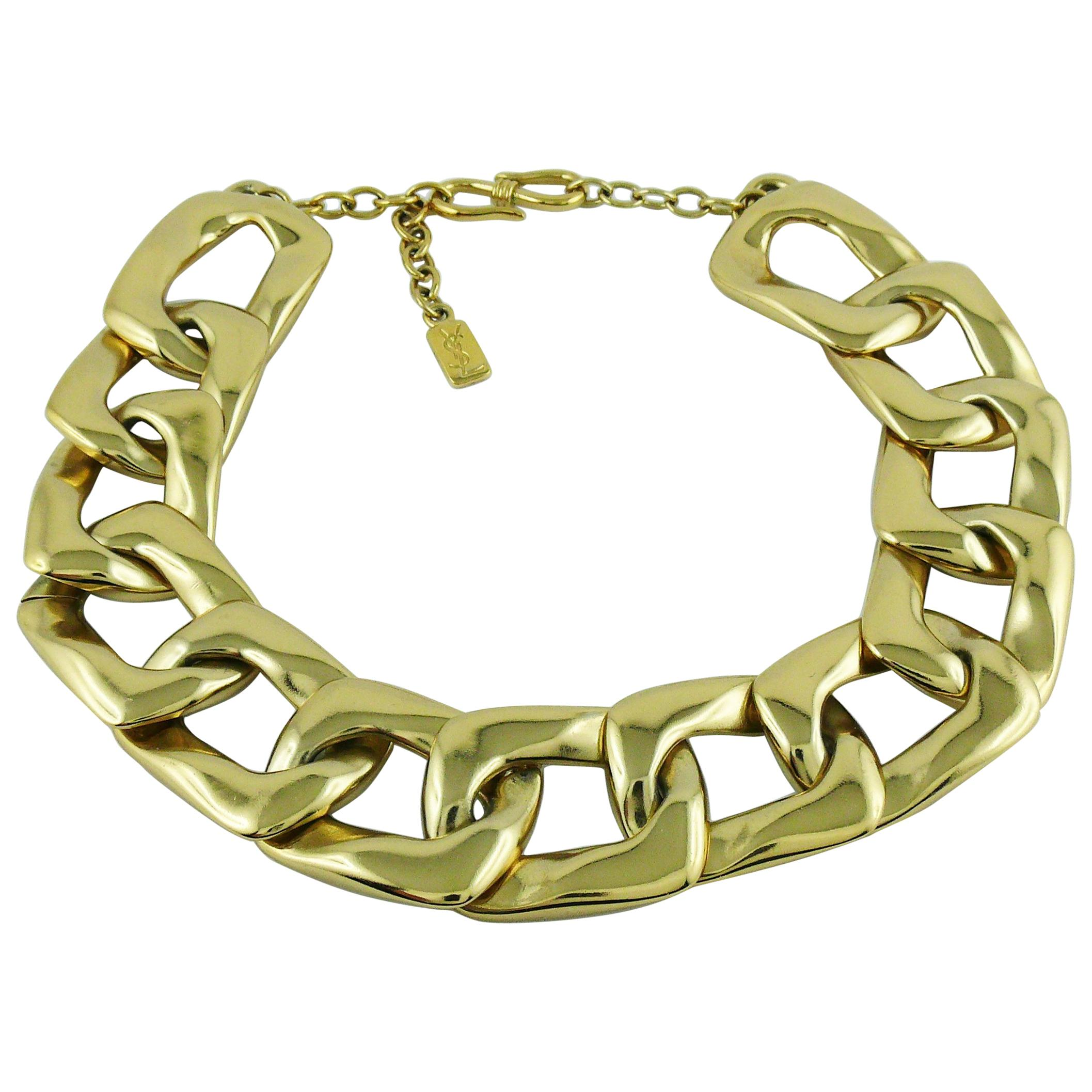 36049792ec2 Yves Saint Laurent YSL Vintage Chunky Gold Toned Curb Chain Necklace at  1stdibs