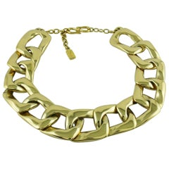 Yves Saint Laurent YSL Vintage Chunky Gold Toned Curb Chain Necklace
