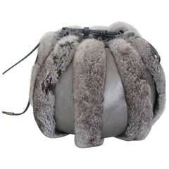 Chinchilla Fur muff round leather bag