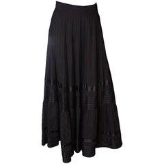 A Vintage 1970s Long Black Mexicana Skirt