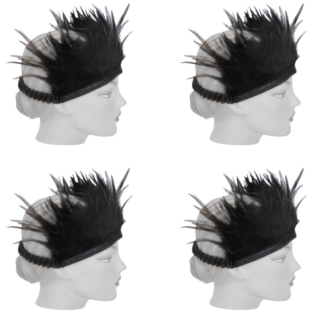 Boho chic 4 Piece feather headband set