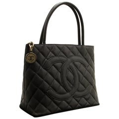 Chanel Caviar Silver Medallion Shoulder Bag Black Leather Tote