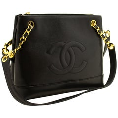 Chanel Caviar Large Chain Black Leather Gold Zipper Shoulder Bag