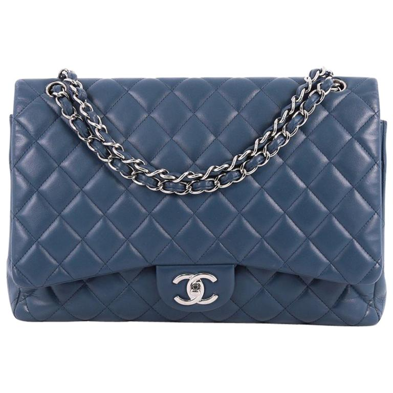 Chanel Classic Double Flap Bag Quilted Lambskin Maxi For Sale