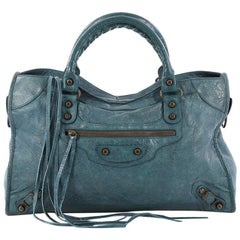 Balenciaga City Classic Studs Handbag Leather Small
