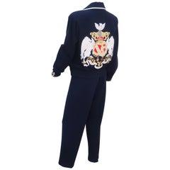 Sporty 1990's St. John Knit Nautical Blue Cardigan Lounge Suit