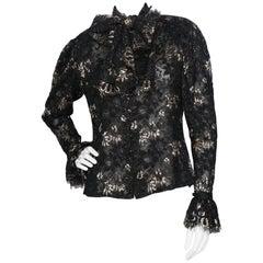 A 1980s Vintage Jean-Louis Scherrer Lurex Floral Lace Blouse