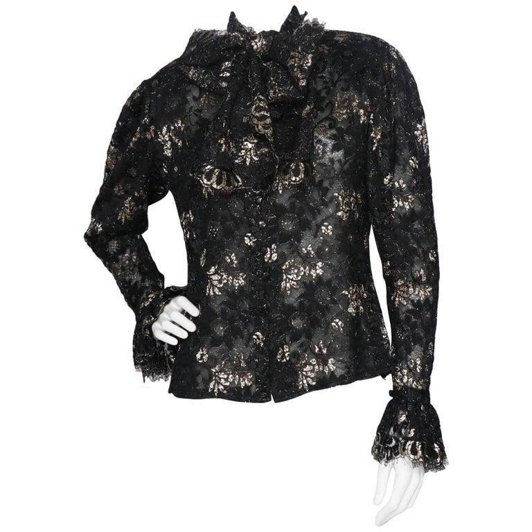 A 1980s Vintage Jean-Louis Scherrer Lurex Floral Lace Blouse  For Sale