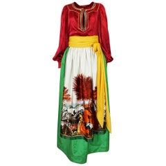c.1977 Emanuel Ungaro Haute Couture Painted Skirt & Top Set