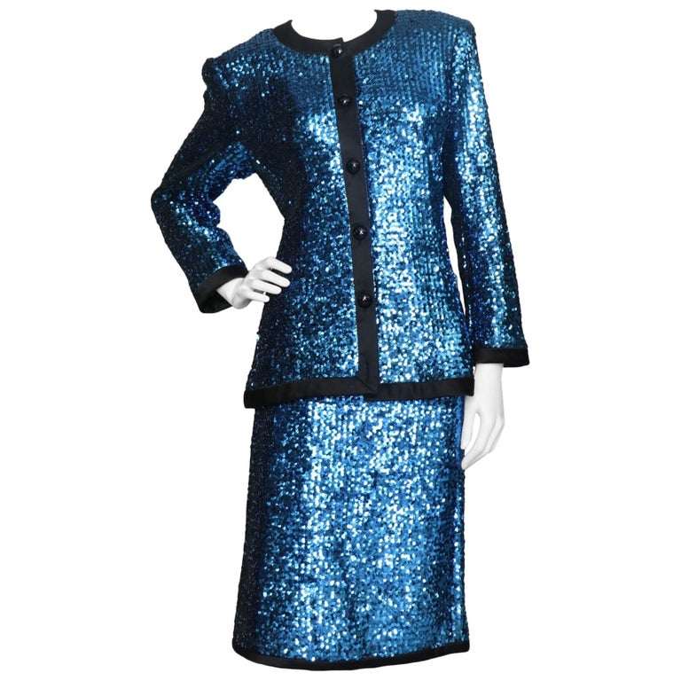 A 1980s Blue Sequin Embellished Yves Saint Laurent Rive Gauche Skirt Suit For Sale