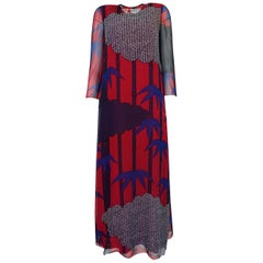 1970s Hanae Mori Silk Chiffon Beautifully Printed Caftan Dress