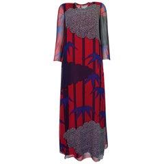 1970s Hanae Mori Silk Chiffon Beautifully Printed Caftan Dress