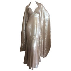Jacques Fath Vintage Golden Halter Evening Dress with Shawl