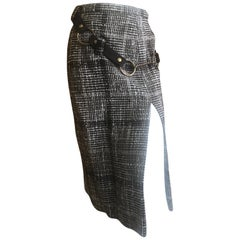 Cardinali Plaid Tweed Skirt with Bold Brass Hardware and Leather Belt Straps