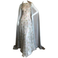 Olivier Theyskins Sheer Silk Floral Evening Dress with Shawl, Fall 2001