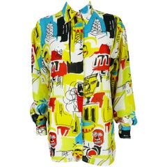 Versace Jeans Couture Vintage Basquiat Inspired Print Shirt