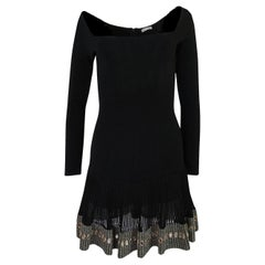 c.1992 Azzedine Alaia Dress w Beaded Hem & Hand Placed Mirror Finish