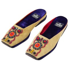 Fendi Beaded Suede Slipper Slides, 2000s