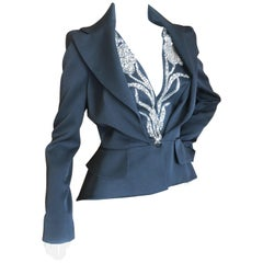 Alexander McQueen Black Tailored Tailcoat with Crystal Embellished Floral Lapels