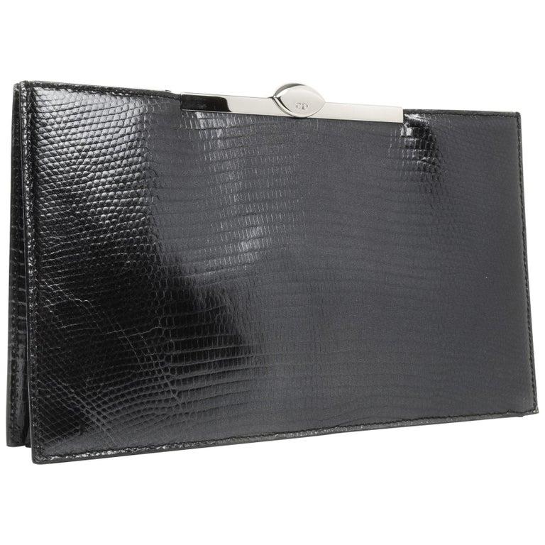 Christian Dior Bag Clutch Black Lizard Top Frame Sleek