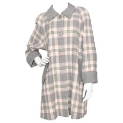 Courreges Vintage Pink and Grey Plaid Wool Coat, 1960s