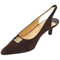 Late 1990s Chanel Brown Suede Pointed Toe Sling Back Kitten Heels