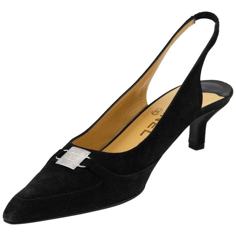 219909362b0 Late 1990s Chanel Black Suede Pointed Toe Sling Back Kitten Heels For Sale