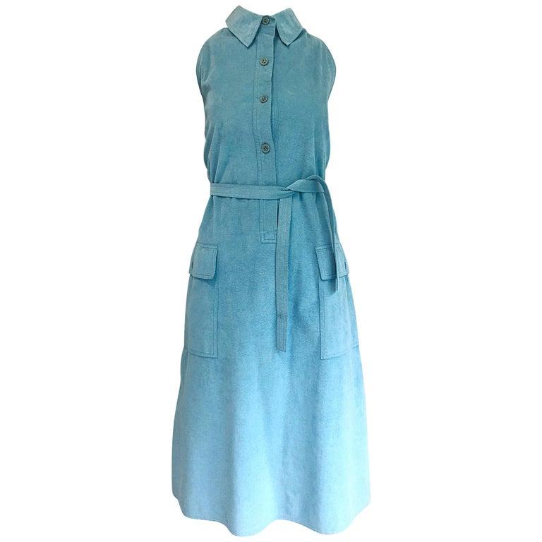1970s Halston Robin Eggs Blue Ultrasuede Sleeveless Vintage 70s Shirt Dress