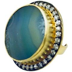 Geode Aqua Blue Round Druzy Ring
