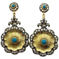 Hand brushed Camilla earrings in turquoise