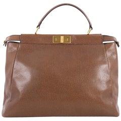 Fendi Peekaboo Handbag Grained Leather Large
