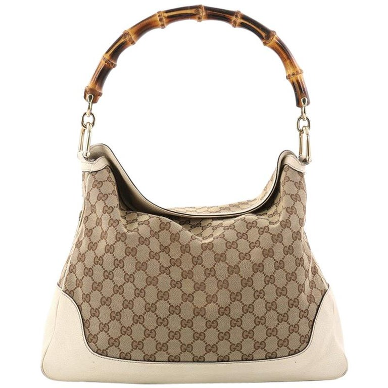 c980312d7b5065 Gucci Diana Bamboo Shoulder Bag GG Canvas Medium at 1stdibs