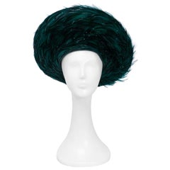 George Zamau'l Emerald Hat with Feathered Brim, 1980s