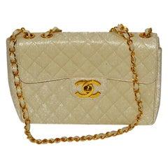 Chanel Beige Caviar Jumbo 13 Inch Classic Handbag