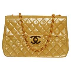Fabulous! Chanel 13 Inch Jumbo Classic in Tan Lambskin