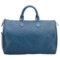 Louis Vuitton Blue Epi Speedy 35