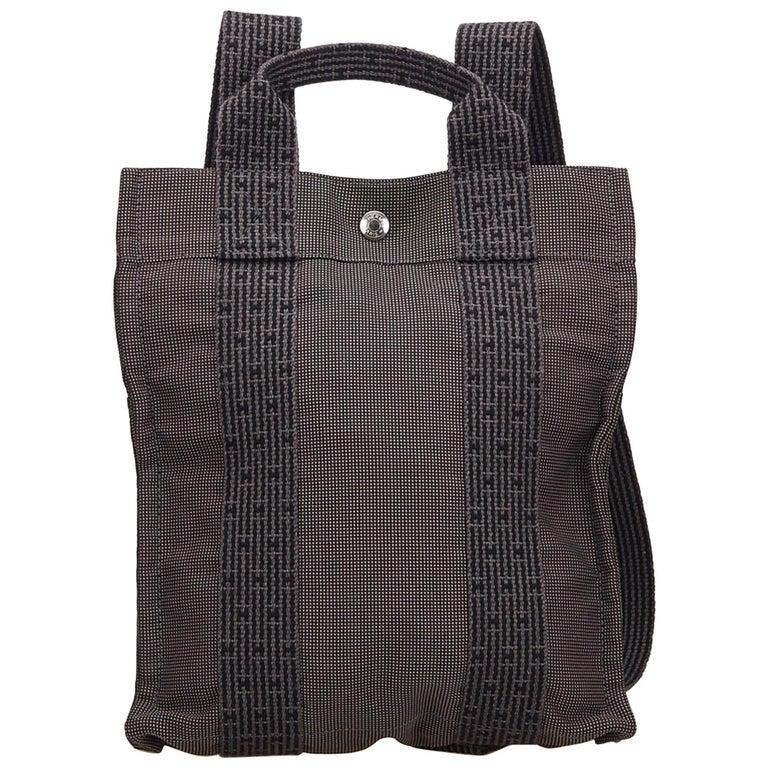 Hermes Blue Herline Canvas Backpack PM