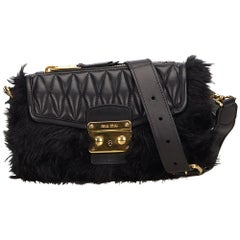 Miu Miu Black Fur Crossbody Bag