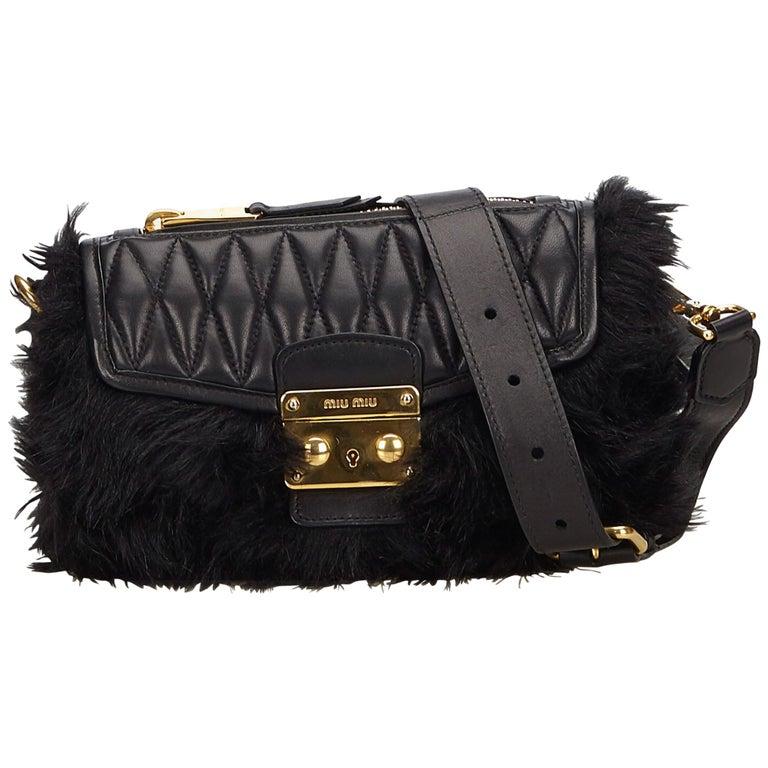 Miu Miu Black Fur Crossbody Bag
