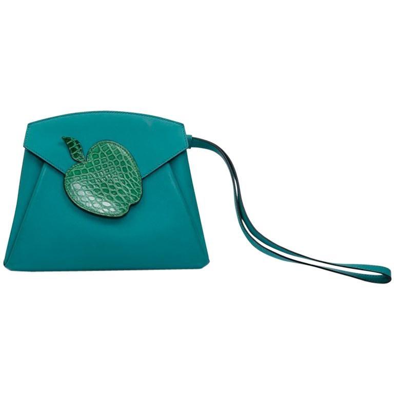Hermès Blue Peacock Tadelakt Leather Tutti Frutti Hermail Bag