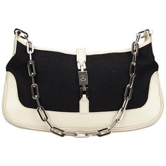 Gucci Black x White Suede Jackie Chain Baguette