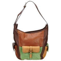Chloe Brown x Green Leather and Suede Shoulder Bag