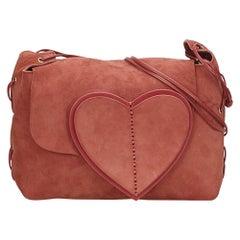 Gucci Red Suede Heart Shoulder Bag