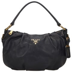 Prada Black Leather Hobo Bag